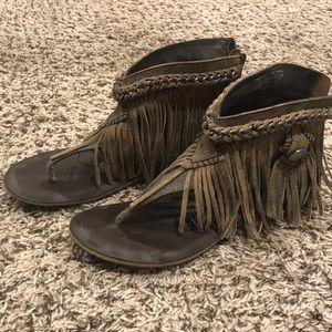 Naughty Monkey fringe leather sandals